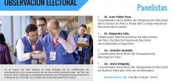"""Actividad: """"Las  elecciones del Perú desde la perspectiva de la observación electoral"""""""