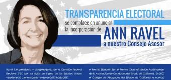 Ann Ravel formará parte del Consejo Asesor 2017 de Transparecia Electoral