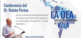 Ruben Perina disertará sobre el rol de la OEA ante el giro autoritario de Venezuela.
