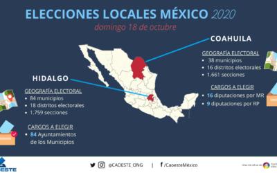 La CAOESTE invita a repasar datos sobre las elecciones locales de Coahuila e Hidalgo, México