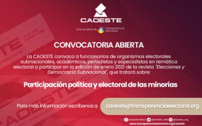 Participa de la edición de enero de nuestra revista «Elecciones y Democracia Subnacional»