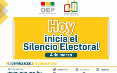 Elecciones Bolivia: este jueves 4 de marzo comienza el Silencio Electoral