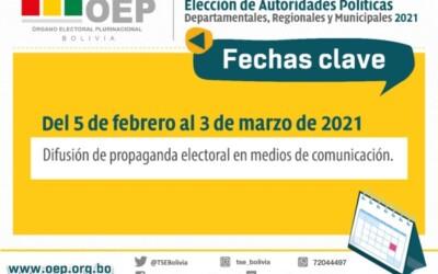 Elecciones Bolivia: este miércoles 3 concluye la difusión de propaganda en actos públicos y medios de comunicación