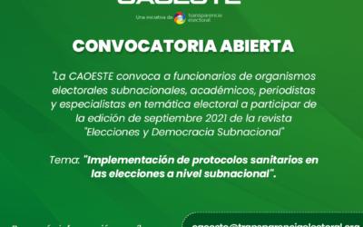 Convocatoria abierta de la revista «Elecciones y Democracia Subnacional»