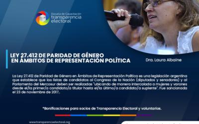 Ley 27.412 de Paridad de Género en Ámbitos de Representación Política